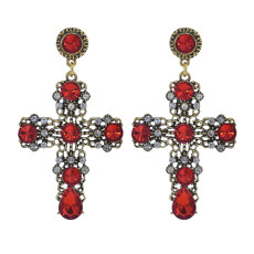 E-5971 Fashion Wedding Jewelry Drop Earrings Renaissance Style Blood Red Crystal Filigree Baroque Cross Earrings