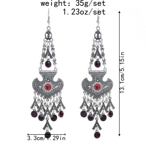 E-5974 Fashion Vintage Wedding Jewelry Drop Earrings Renaissance silver alloy heart Red Crystal tassel Earrings