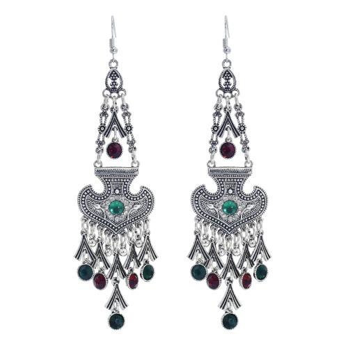 E-5974 Fashion Vintage Wedding Jewelry Drop Earrings Renaissance silver alloy heart Red Crystal tassel Earrings