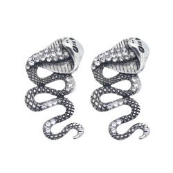 E-5977 Punk Snake Shape Dangle Drop Earrings for Women Vintage Silver Rhinestone Snakes Stud Earrings