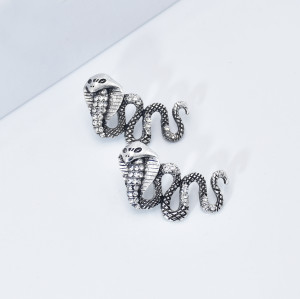 E-5977 Punk Snake Shape Dangle Drop Earrings for Women Vintage Silver Rhinestone Snakes Stud Earrings