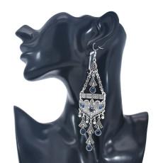 E-5978 Bohemian Vintage Silver Metal Rhinestone Long Tassel Hanging Earrings for Women Indian Party Jewelry Gift