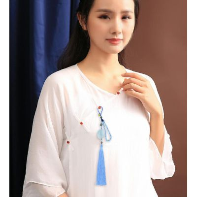 K-0015 Chinese style anti-wrinkle ice silk ear pendant car color four-color ancient style Chinese knot tassel pendant Hanfu Accessories