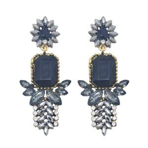 E-5984 Rhinestone Flower Dangle Earrings for Women Crystal Boho Drop Earrings for Bride Wedding