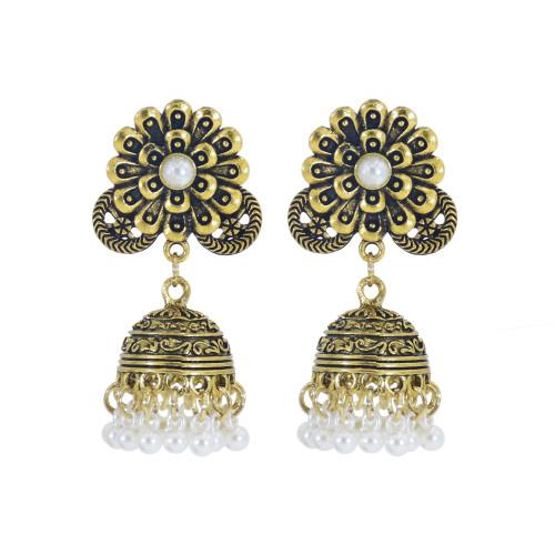 E-5985 Indian Gold Metal Jhumka Earrings for Women Carved Flower Pearl Tassel Statement Earring Party Jewelry