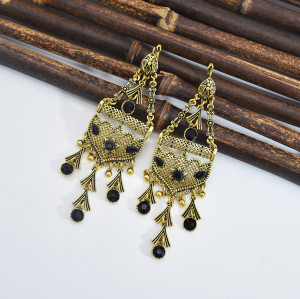 E-5988 Bohemian Vintage gold Metal Rhinestone Long Tassel Hanging Earrings for Women Indian Party Jewelry Gift