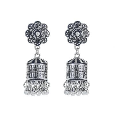 E-5990 Indian Jhumka Earrings for Women Silver Gold Metal Flower Bells Tassel Earring Wedding Party Jewelry
