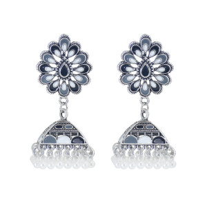 E-5991 Vintage Indian Jhumka Earrings for Women Silver Metal Flower Bells Tassel Earring Wedding Party Jewelry