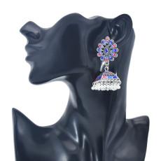 E-5991 Vintage Indian Jhumka Earrings for Women Silver Metal Flower Bells Tassel Earring Wedding Party Jewelry