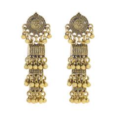 E-5994 Vintage Indian Jhumka Earrings for Women Silver Gold Metal Flower beaded Tassel Earring Wedding Party Jewelry