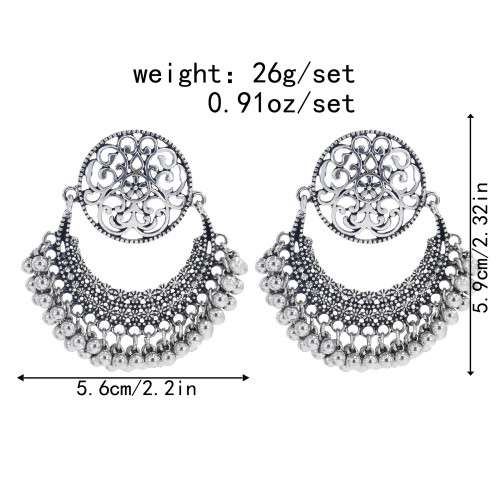 E-5996 Vintage Hollow Dangle Earrings for Women Indian Ethnic Jhumka Bells Tassel Drop Earrings Jewelry