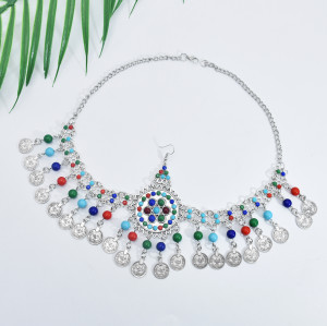 F-0830 Vintage Silver Metal Acrylic Beads Coin Tassel Headbands for Women Boho Turkish Tribal Party Hair Jewelry