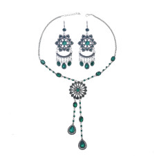 N-7451 Vintage silver color Rhinestone tassel necklace earring set female bohemian gypsy party jewelry set