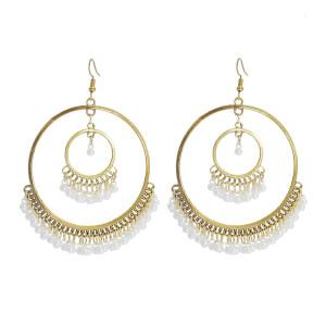 E-5998 Bohemian Big Geometric Vintage Silver Gold Metal Pearls Tassel Earrings for Women Indian Party Jewelry