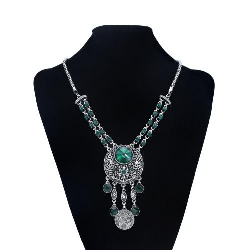 N-7452 Bohemian Vintage silver color Black green red Rhinestone tassel necklace hoop earring set female gypsy party Jewelry set