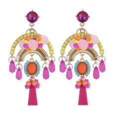 E-5999 Colorful Beads Bohemian Dangle Earrings for Women Crystal Boho Tassel Drop Earrings