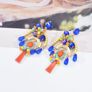 E-5999 Colorful Beads Bohemian Dangle Earrings for Women Crystal Boho Tassel Drop Earrings