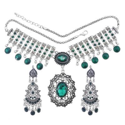 N-7455 Bohemian Vintage silver color Black Green Rhinestone tassel necklace hoop earring set female gypsy party Jewelry set