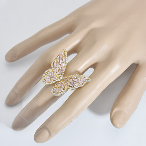 R-1538 Luxury Fashion crystal Rhinestone Gold Silver Butterfly Rings For women Girl Birthday Party Jewelry Gift