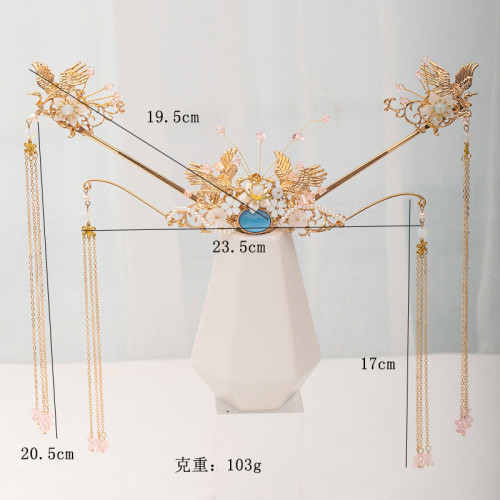 F-0836 Fashion Vintage Green Rhinestone Crystal Tassel Hairpins Hair Combs Sets for Bridal Chinese Style Wedding Hair Accessories