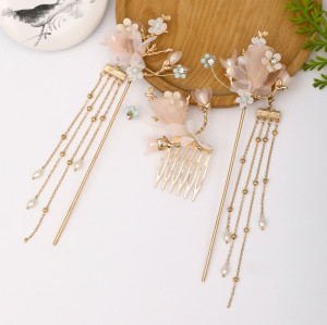F-0837 Hot sale antique style headdress Hanfu headdress hair comb comb set ancient style hairpin Hanfu hair accessories