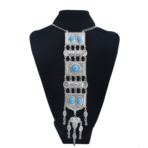 N-7457 Boho Vintage Silver Color Metal Red Blue Stone Necklaces Bracelets Earring Sets for Women Gypsy Party Jewelry