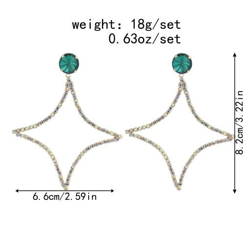 E-6002 Shiny Star Dangle Earrings for Women Green Crystal Rhinestone Boho Cute Drop Earrings