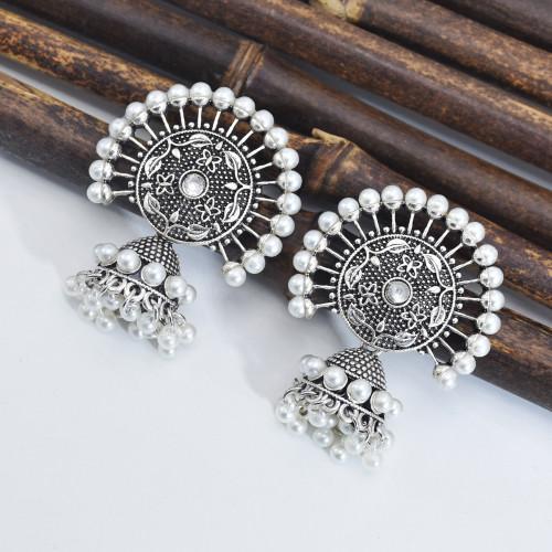 E-6003 Vintage Gold Silver Bell Drop Dangle Earrings Carving Flower Hat Shape Indian Earrings For Women Jewelry