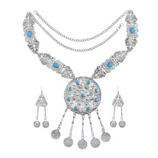 N-7458 Bohemian Vintage Silver-color Alloy Green red stone necklace earrings bracelet with rings Set for women Indian Gypsy Jewelry Set