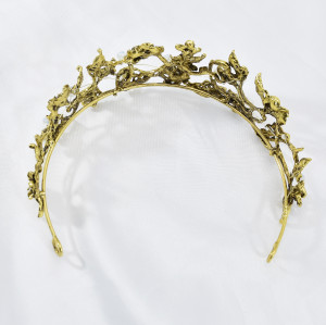 F-0840 Vintage Gold Metal Rhinestone Pearl Tiaras Crowns for Women Bridal Headpiece Wedding Hair Accessories