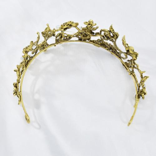 F-0840 Vintage Gold Metal Rhinestone Pearl Tiaras Crowns for Women Bridal Headpiece Wedding Hair Accessories