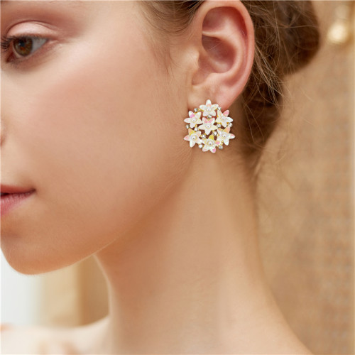 E-6008 Shiny Colorful Flower Stud Earrings for Women White pearl Crystal Rhinestone stud earrings Jewelry