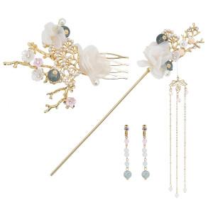 F-0842 Antique headdress Hanfu headdress hair comb Hair stick Earrings set Hanfu Jewelry hair accessories