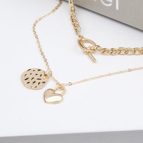 N-7460 Fashion Gold Layered Necklace for Women Rhinestone Dragon Heart Pendant  Choker Chain Necklaces