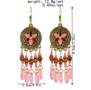 E-6011 Ethnic Bohemain Acrylic Beads Long Tassel Earrings for Women Carved Flower Indian Party Jewelry Gift
