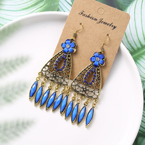 E-6010 Bohemian Indian Style Earrings For Women Long Pendant Hollow Flower Party Gift Alloy Jewelry