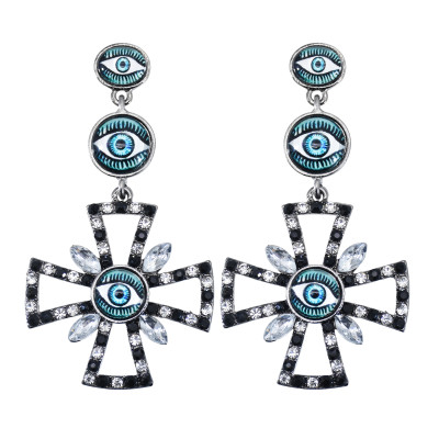 E-6013 Fashion Vintage Cute Rainbow Crystal Rhinestone Pearl Heart Seed Beaded Eye Drop Earrings for Women Jewelry