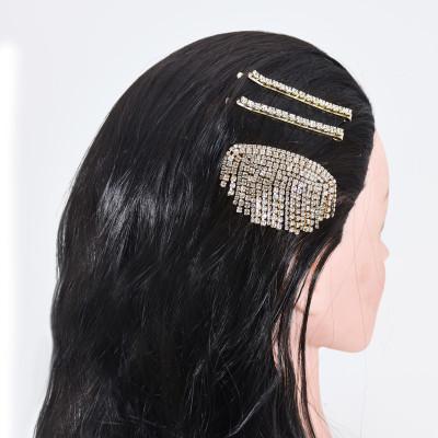 F-0843 3 PCS Bling Rhinestone Hairpins for Women  Girls Crystal Hair Clips Hair Accessories