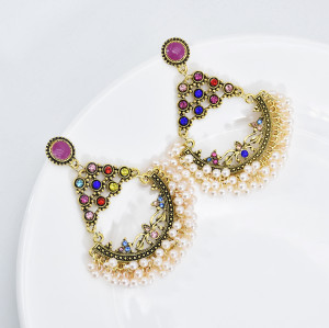 E-6014 Indian Gold Alloy Jhumka Earrings for Women Colorful Rhinestsone Pearl Statement Earring Party Jewelry