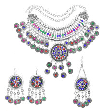 N-7463 Bohemian Vintage Silver Metal Alloy Colorful Crystal Coin choker necklace tassel earrings hairclip Sets Ethnic Dance Jewelry sets