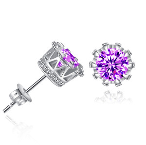 E-6017 Sparkling Rhinestones Stud Earrings for Women Elegant Crystal Simple Earrings