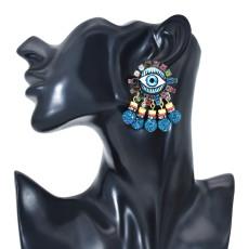 E-6016 Fashion Vintage Cute Rainbow Crystal Rhinestone Heart Seed Beaded Eye Drop Earrings for Women Jewelry