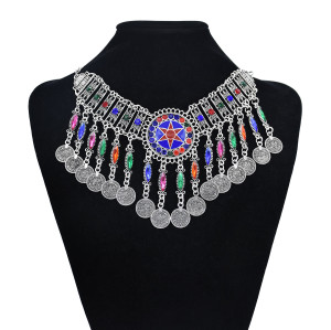 N-7465 Bohemian Vintage Metal Colorful Rhinestone Coin Tassel Statement Necklace Earring Hair Clips Party Indian Jewelry Sets