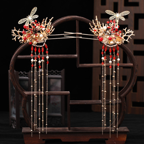F-0845 The new Xiuhe clothing butterfly headdress Chinese bride's phoenix crown red step tassel Earrings Hairclip Haircomb hairpin Set wedding clothing accessories
