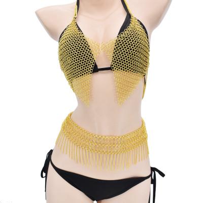 N-7466 Bohemian Fashion Gold Metal Alloy Chain Sexy Body chain Choker Necklace Bra Body chain Vintage Jewelry Sets