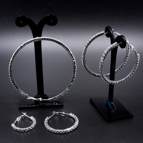 E-6020 Fashion Full Crystal Rhinestone Big Round Circle Hoop Statement Earrings for Women Cocktail Party Jewelry Gift