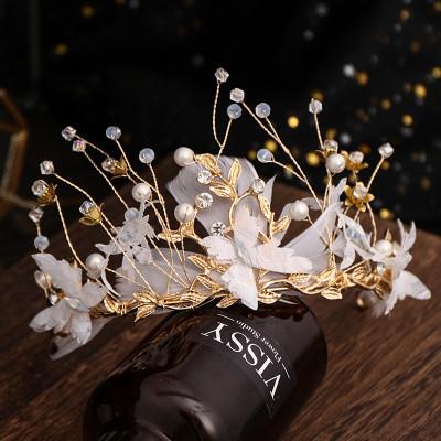 F-0846 Bridal butterfly Feather Headband Crystal Rhinestones Gold Tiara Queens Princess Crown for Women Girls Wedding Birthday