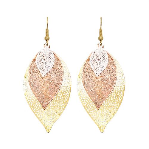 E-6021 Hollow Leaf Dangle Earrings for Women Bohemian Lightweight Tassel  Drop Earrings
