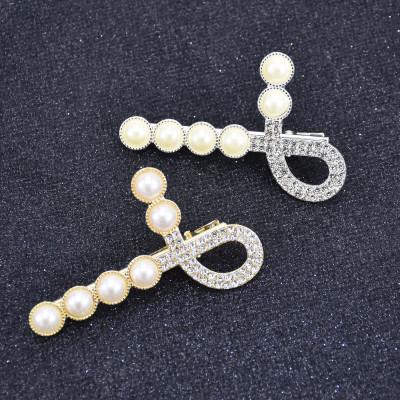F-0849 Korean Fashion Bling Rhinestone Crystal white Pearl Hairpins for Women Girls Crystal Hair Clips Hair Accessories