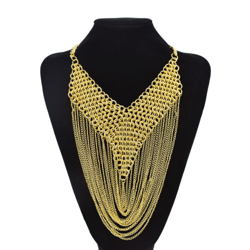 N-7467 Punk Metal Chain Tassel Necklace for Women Gold Weaved Pendant  Choker Chain Necklaces
